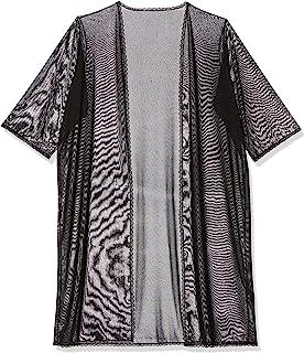 闪光七分袖网眼睡袍,1X,黑色