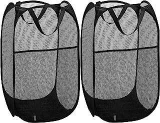 Mesh Popup 洗衣篮 - 便携,耐用的手柄,折叠便于储存和打开。 折叠弹出式衣服篮非常适合儿童房、学院宿舍或旅行。 黑色 Single Hamper, 2-Pack