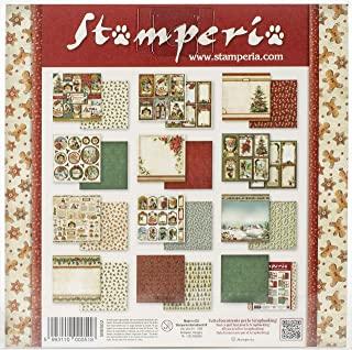 STAMPERIA SBBS02 小型纸垫 10 张双面圣诞节复古 20.3 x 20.3 厘米(8 英寸 x 8 英寸)多色