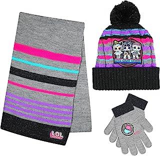 LOL Surprise!冬季帽手套和围巾套装带礼盒,适合 5-13 岁女孩
