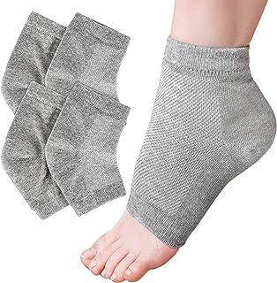 STkini NICK 保湿脚跟袜(灰色)2 双凝胶内衬皮肤软化*护理,适用于干燥、硬或开裂的鞋跟 - 男式和女式无脚趾日夜水疗袜