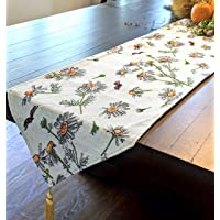 Tache Floral 黄色雏菊瓢虫象牙色编织桌布 - 复古挂毯厨房餐厅亚麻布 - 33.02 x 137.16 厘米