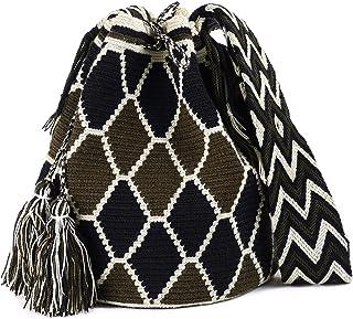 Wayuu Mochila Bags 钩针编织手工棉正品哥伦比亚波西米亚包斜挎包彩色 Sierra large