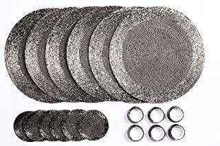 Penguin Home 套装 带 18 个玻璃珠餐垫,杯垫和餐巾环 - 复古银色- 圆形桌垫 - 由经验丰富的印度工匠手工制作 - 直径 - 32