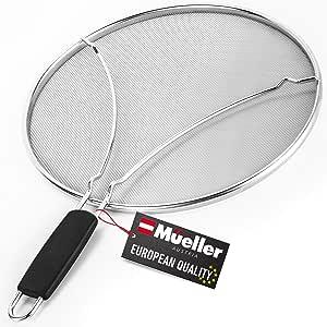 Mueller Grease Splatter 煎锅 13 英寸(约 33.0 厘米),超细网眼可防止 99% 的溅水混乱,防溅保护罩用于*烹饪,带休息脚,不锈钢