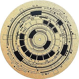 优质转盘垫 - 软木转盘垫,证明音质,更好的抓握力 [4mm] - 迷幻几何模拟艺术