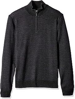 Goodthreads Men's Merino Wool Quarter Zip Sweater, Charcoal, Medium