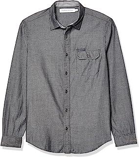 CALVIN KLEIN 男士 牛仔紐扣長袖襯衫