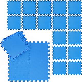 Relaxdays 地板垫套装 防污垫 适用于健身和健身设备 Eva,不含BPA,面积2.1平方米,宽 x 深 30 x 30厘米,蓝色