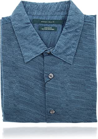 Perry Ellis 男式 Collard 系扣短袖设计师衬衫(L 码)蓝色