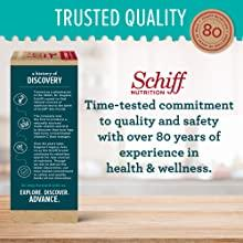Trusted quality commitment, side of box explaining history of Schiff