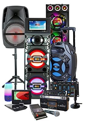 QFX Consumer Electronics Bluetooth Party Speaker Karaoke Portable Rechargeable USB SD MP3