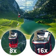 8x and 16x zoomed in gondola