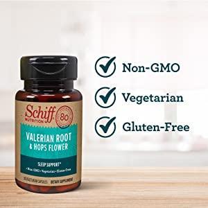 Bottle of Schiff Valerian Root & Hops Flower, non-GMO, vegetarian, gluten-free