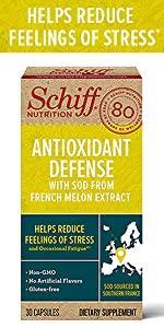 Schiff Antioxidant Defense packshot, helps reduce feelings of stress and