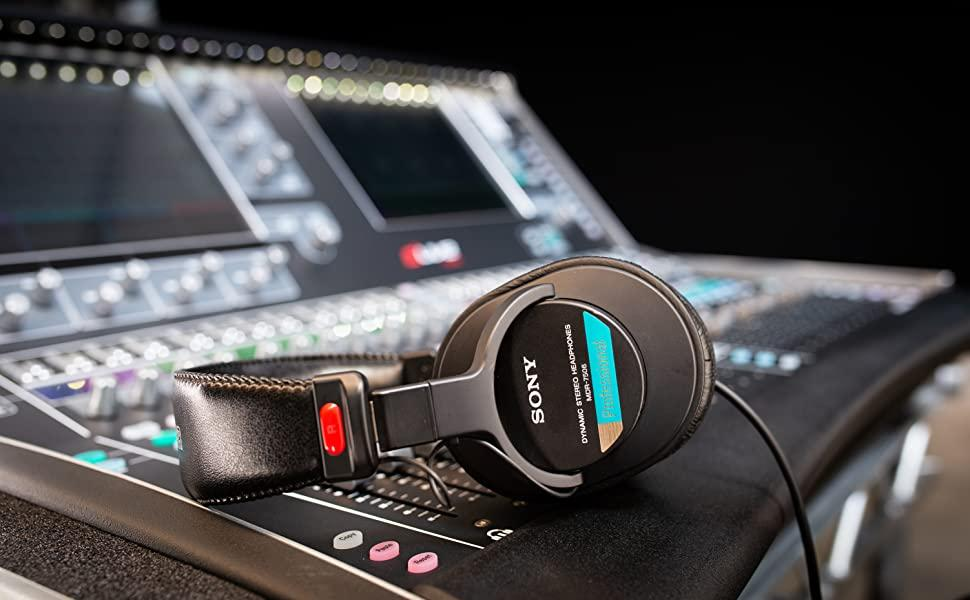 MDR-7506 Professional headphones on mixing desk