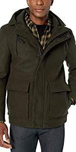 Short Stretch Wool Hooded Jacket