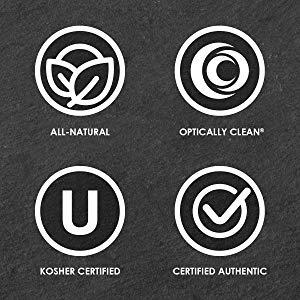 All Natural, Kosher Certified, Optically Clean, Certified Authentic,