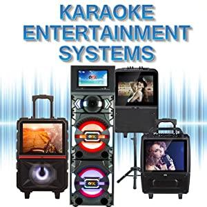QFX Karaoke System RGB Lights Video Monitor Blue Tooth Battery Rechargeable Party Portable