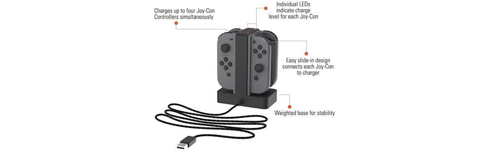 Nintendo Switch joy-cons, joy-con charger, joy-con charging dock, joy-con charging stand