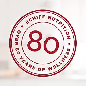 Schiff seal: Schiff nutrition over 80 years of wellness