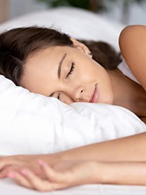 Image of woman sleeping with text helps support sleep