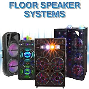 QFX Floor Speakers Party Speaker PA Mic Bluetooth USB RGB Light Lights System