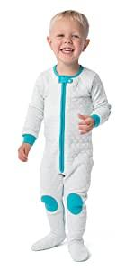 warm cosy baby toddler pajamas PJs quilted lightweight zipper non-slip footed romper