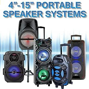 "QFX Bluetooth Portable Party Speaker PA 4"" 6"" 8"" 10"" 12"" 15"" inch 4 6 8 10 12 15 dual wheels handle"