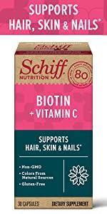 Schiff Biotin + Vitamin C packshot, supports healthy hair, skin & nails